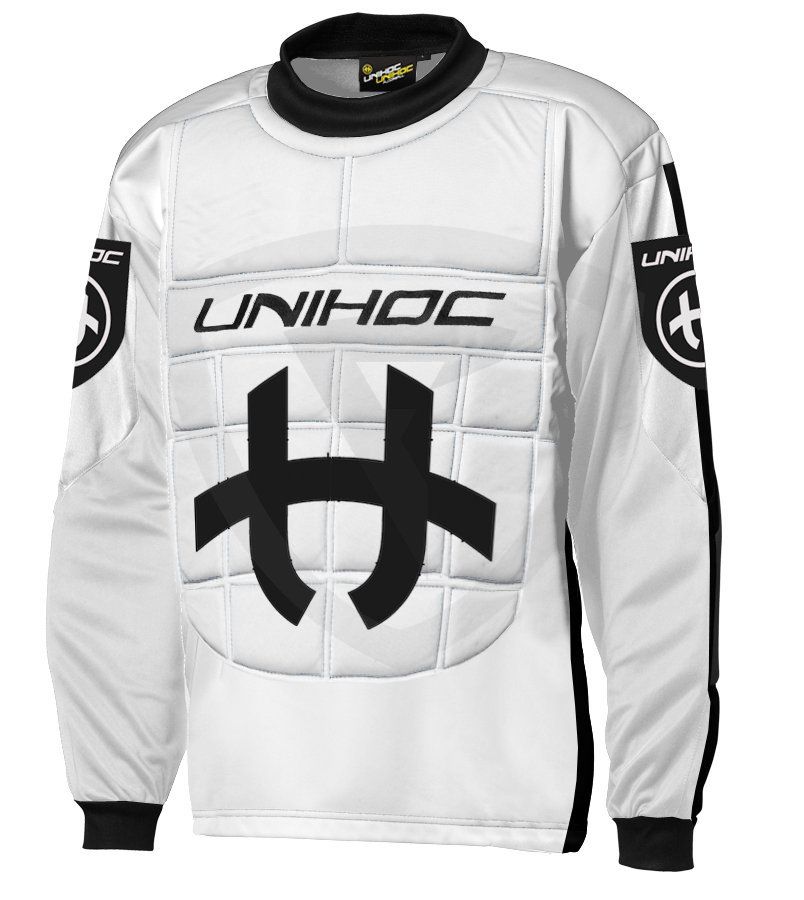 84c108d60ea Unihoc Shield SR. White   Black goalie jersey - Florbal.com